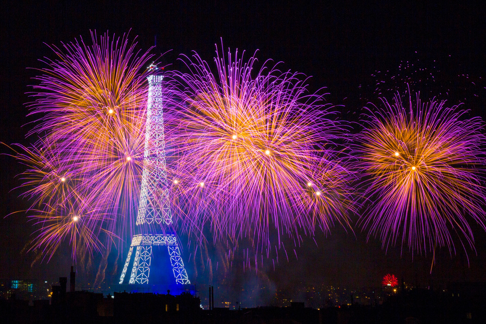 Fotokonst Fireworks at the Eiffel Tower for the 14 july celebration