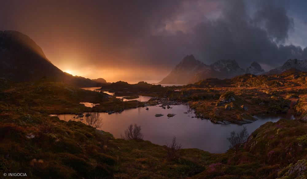 Fotokonst Sunrise over Lofoten