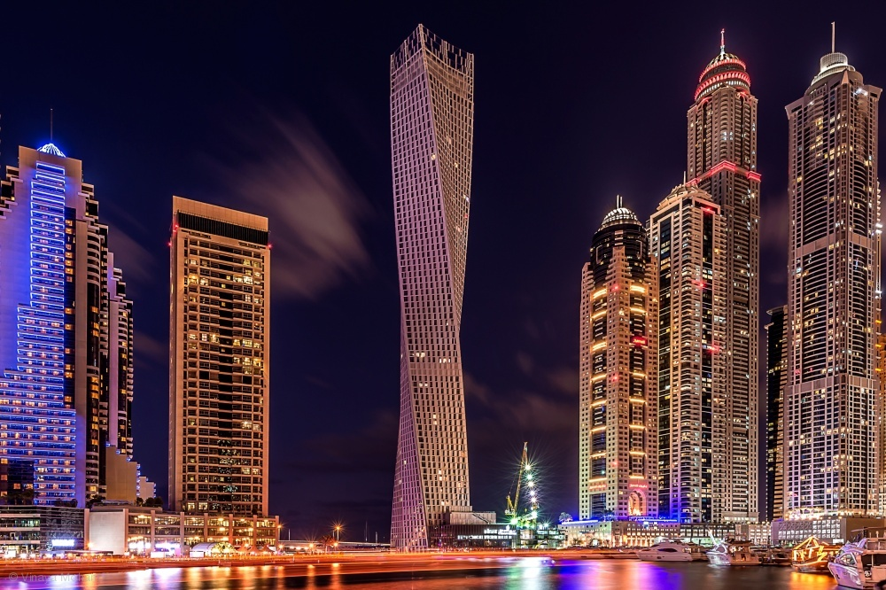 Fotokonst Dubai Marina Night Shot