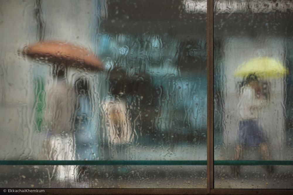Fotokonst Rainy day in downtown