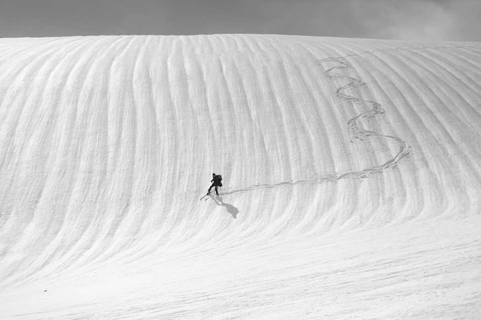 Poster Snow wave surfing