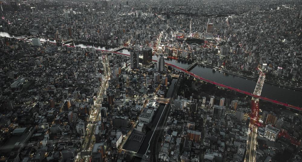 Fotokonst Red Line in the dark Tokyo.