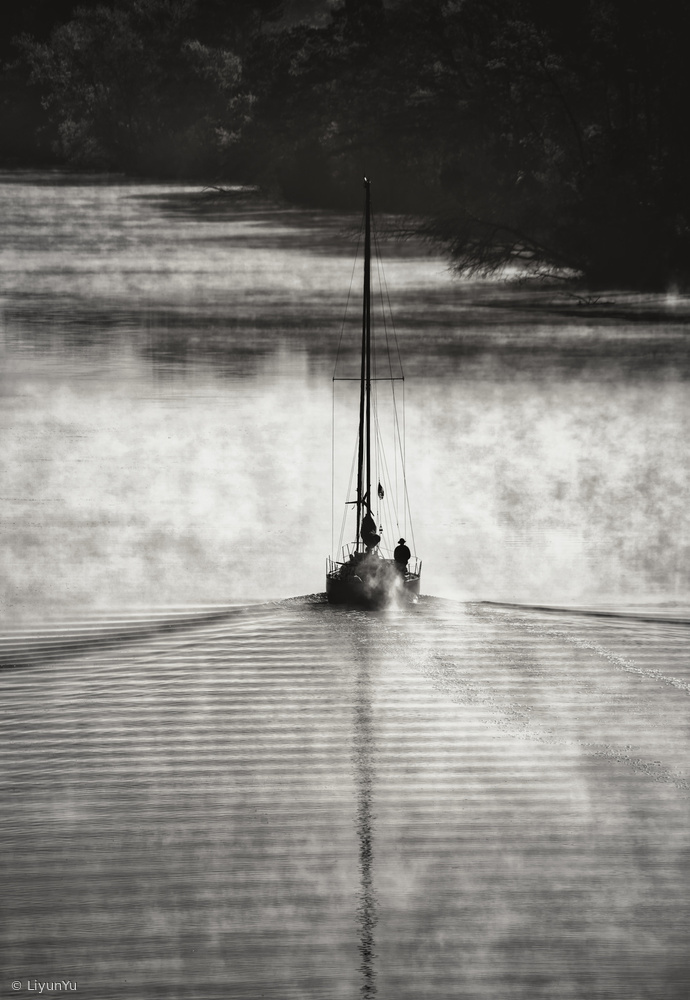 Poster Sailing on the smoky river...