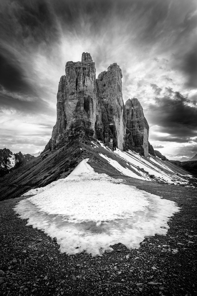 Fotokonst Tre Cime tear of snow