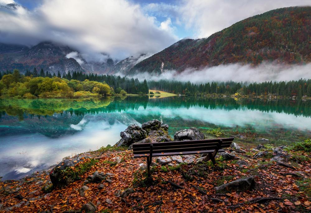 Fotokonst Bench by the lake