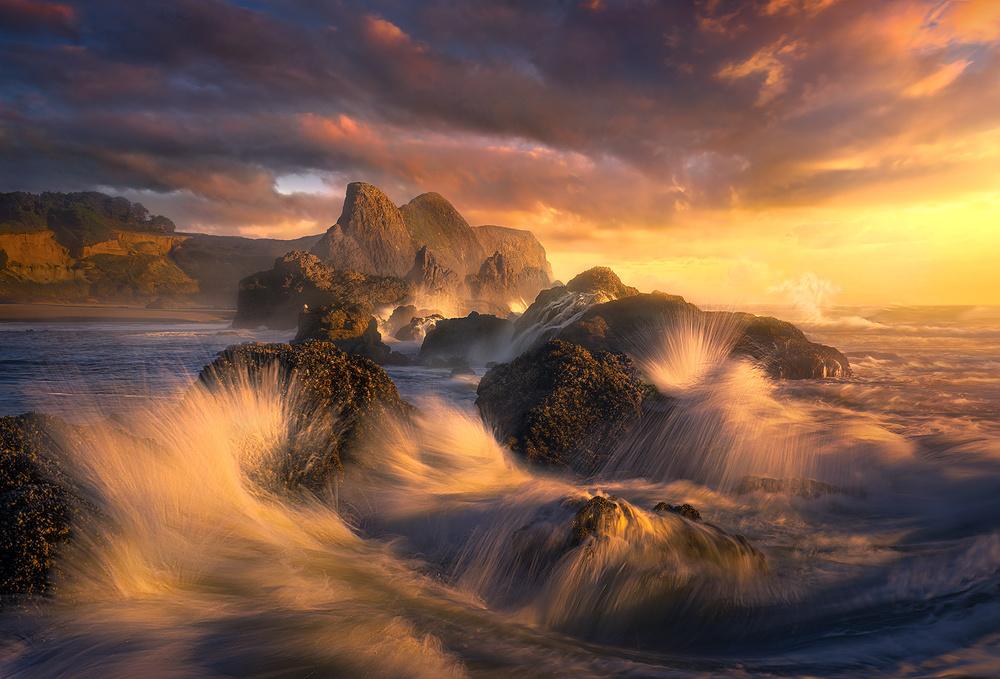 fotografia de atardecer en el mar