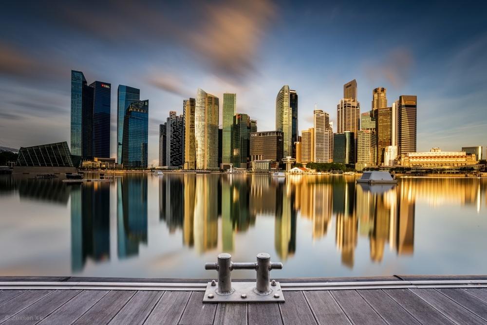 Fotokonst Golden Morning in SIngapore