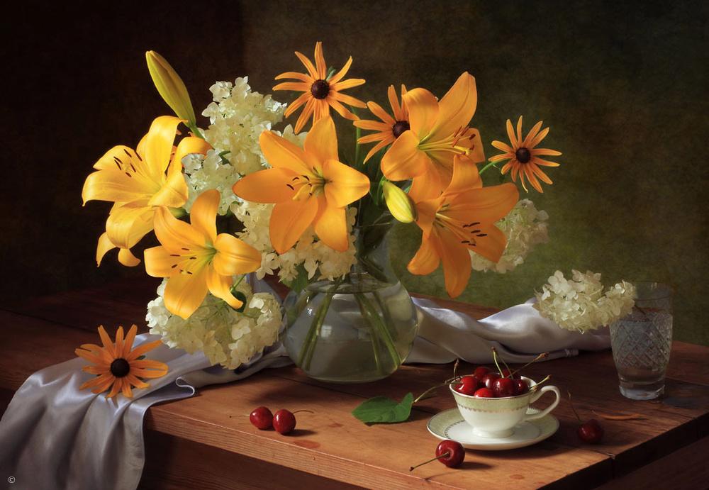 Fotokonst Still life with lilies