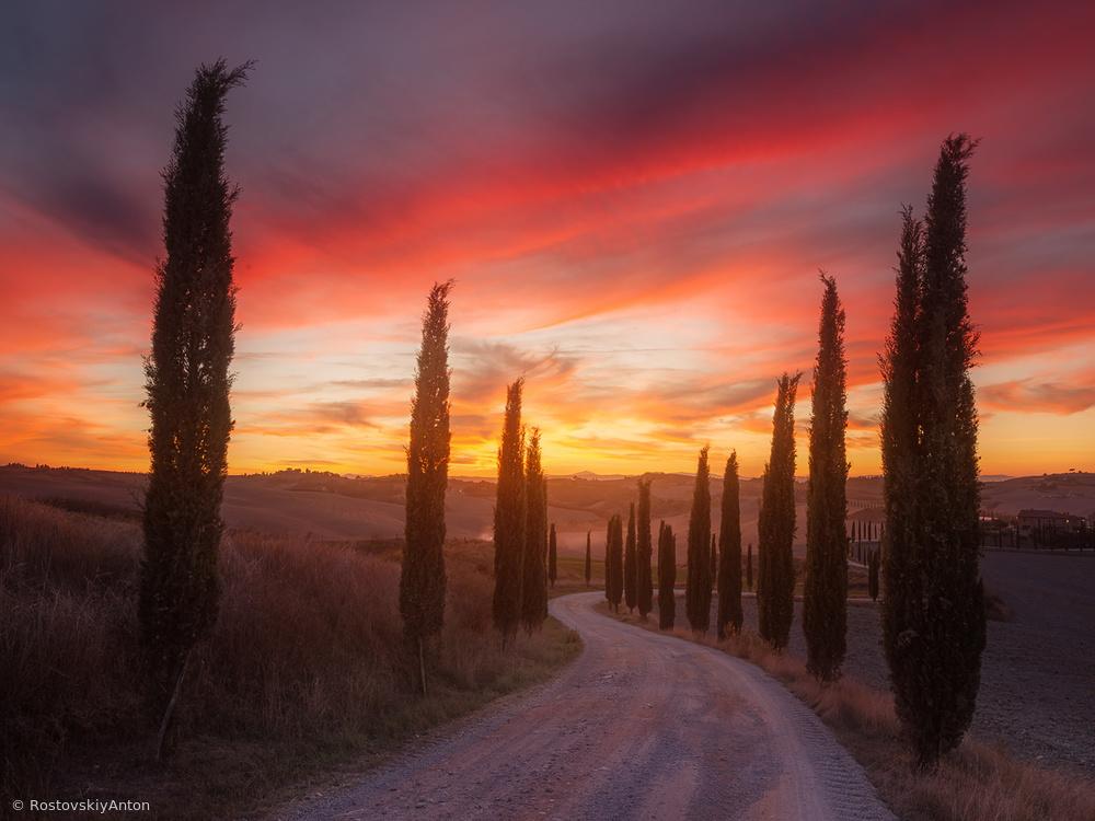 Fotokonst Tuscany sunset