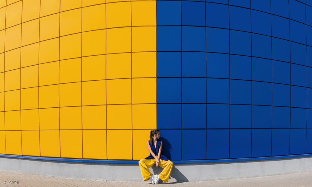 Fotokonst yellow and blue