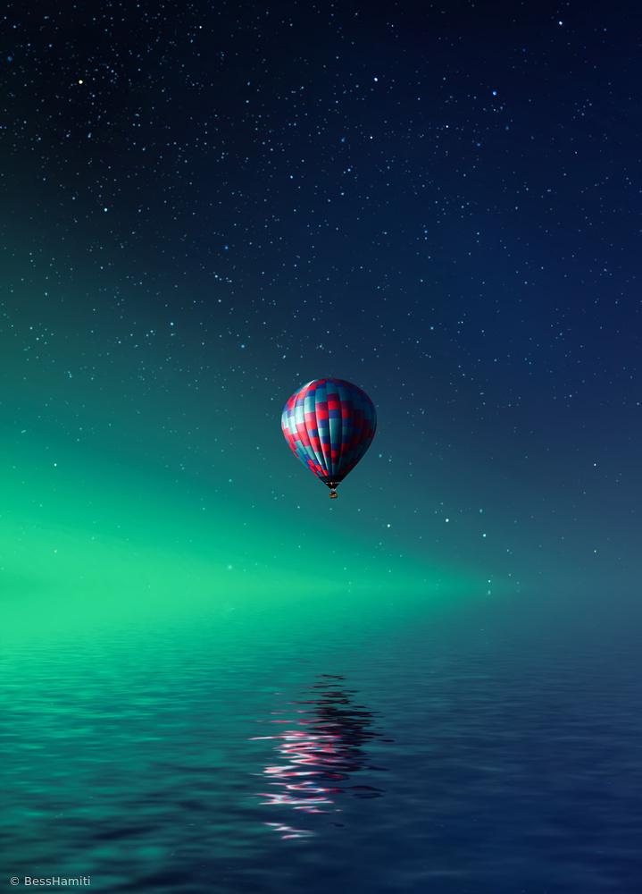 Fotokonst Balloon on lake Batllava