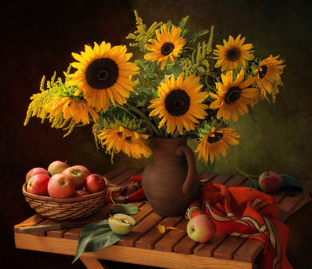 Fotokonst Still life with sunflowers and apples
