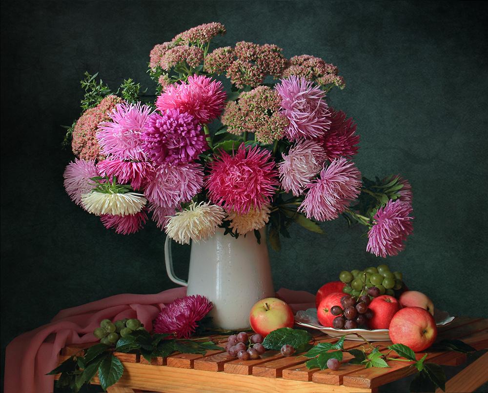 Poster С букетом цветов и фруктами