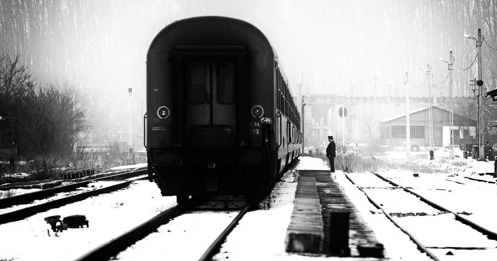 Fotokonst Railway station winter scene