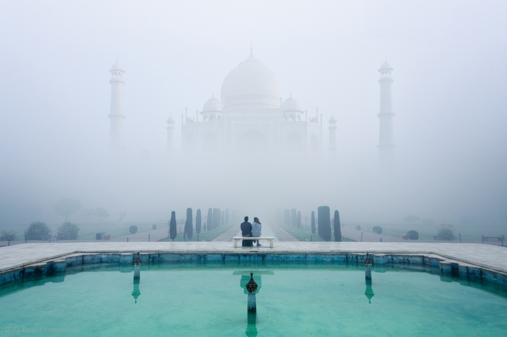 Fotokonst Misty Taj Mahal