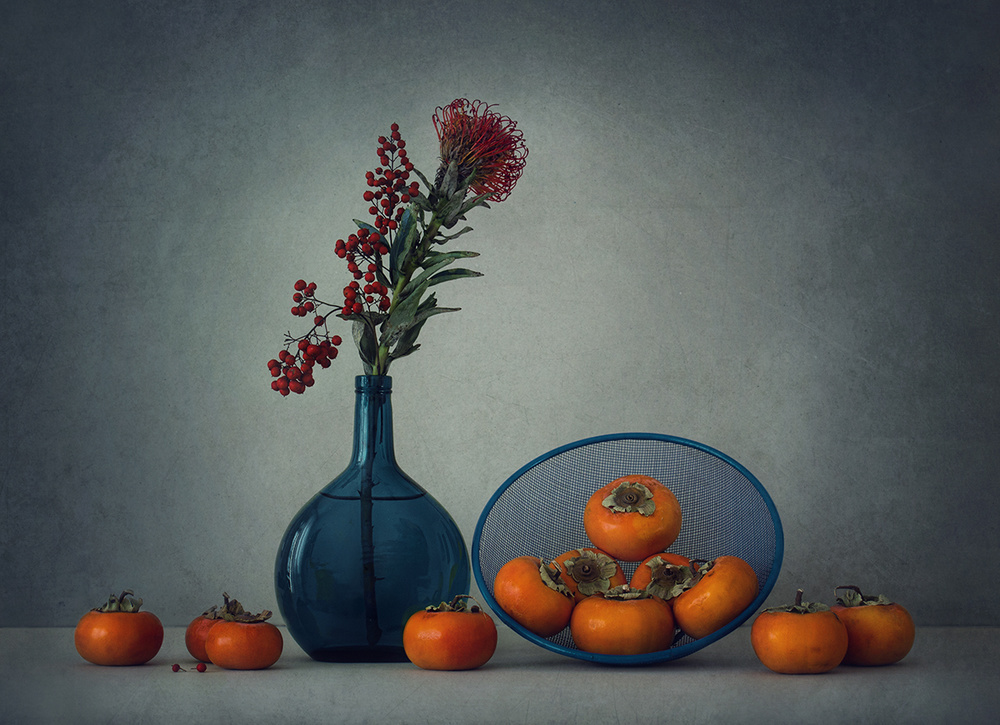 Poster Still life with persimmon