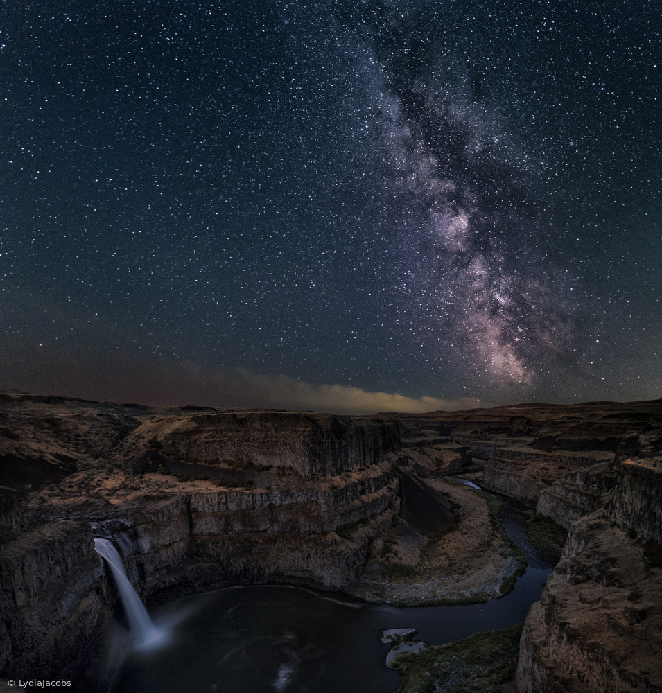 Fotokonst Milky Way over Palouse Falls