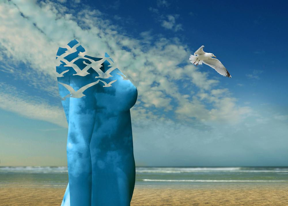 Fotokonst Breath the fresh air at the sea.