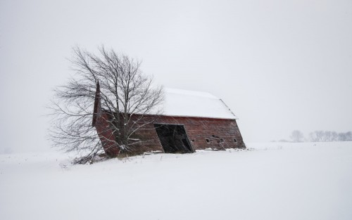 Old Barn in Winter by David Frey