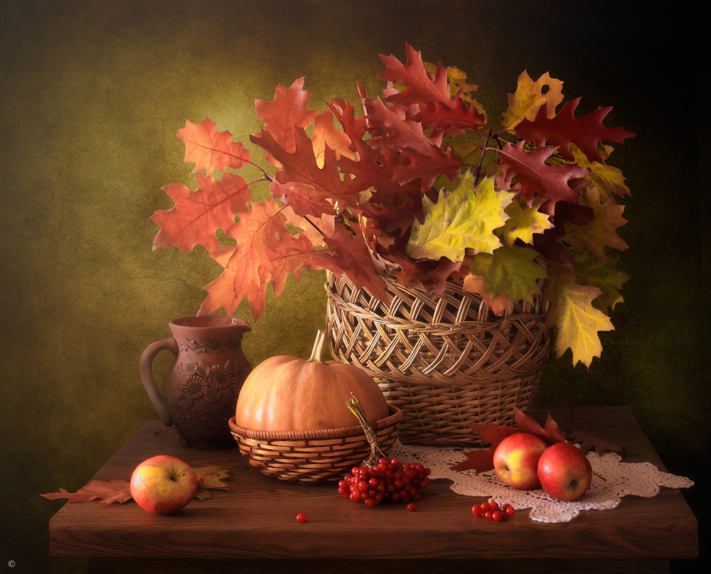 Fotokonst Still Life with Autumn Leaves