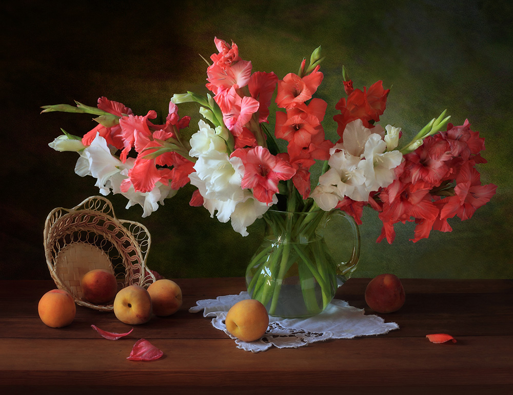 Fotokonst Still life with gladioli and peaches