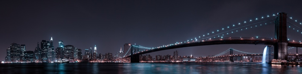 Fotokonst Manhattan Skyline and Brooklyn Bridge