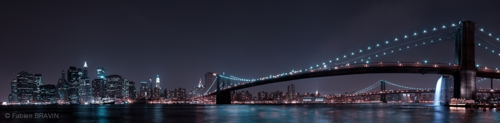 Poster Manhattan Skyline and Brooklyn Bridge