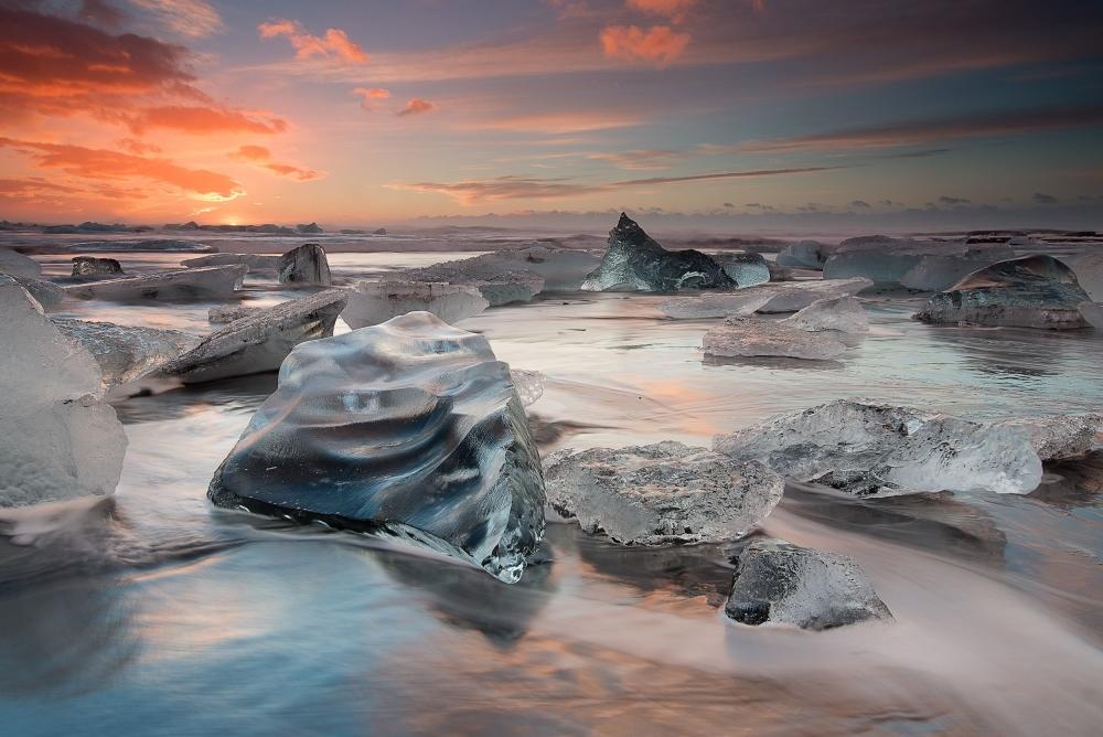 Poster glacial lagoon beach