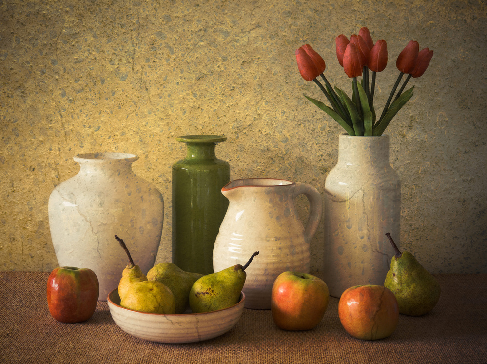 Poster Apples Pears and Tulips
