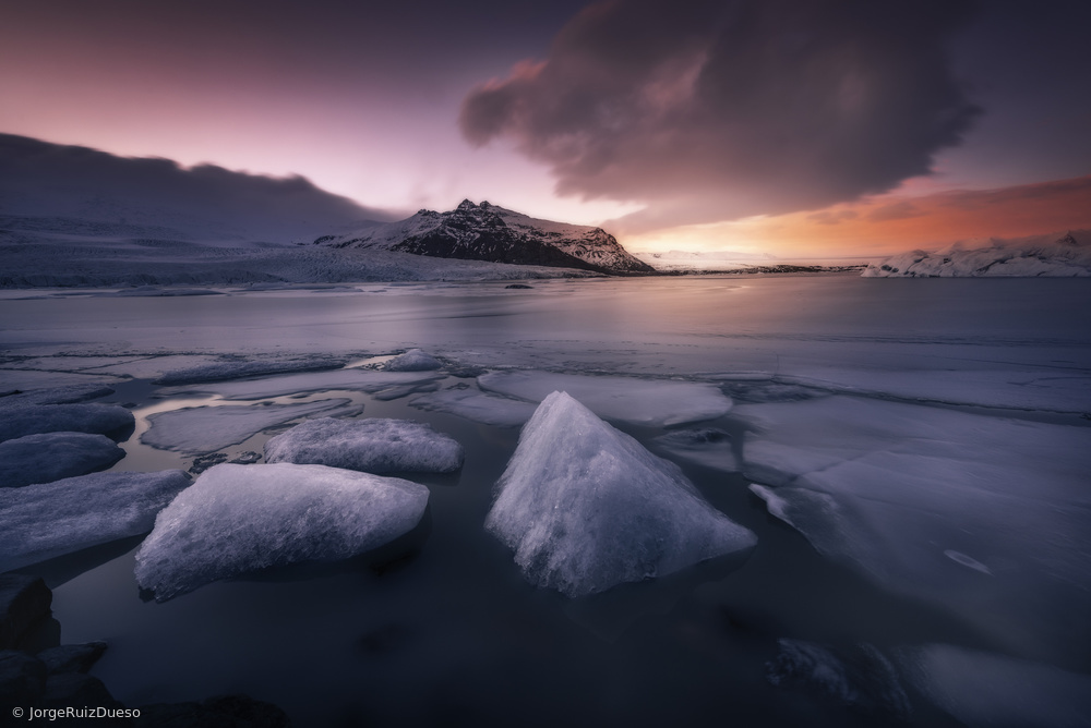 Fotokonst Last Lights on Fjallsarlon