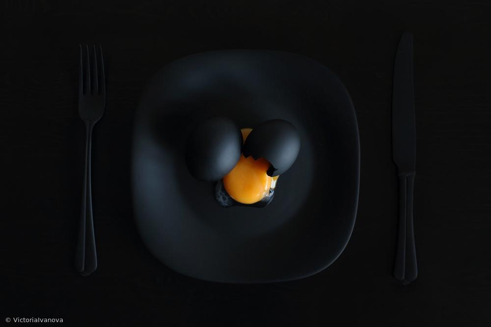 Fotokonst Malevichs breakfast. Or the black square.