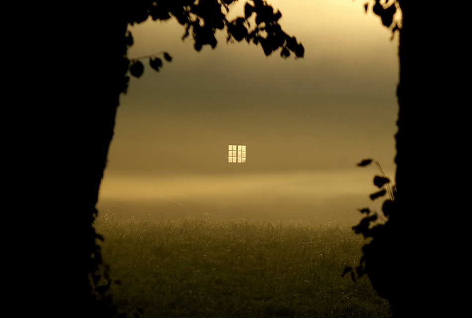 Poster a window in morning mist