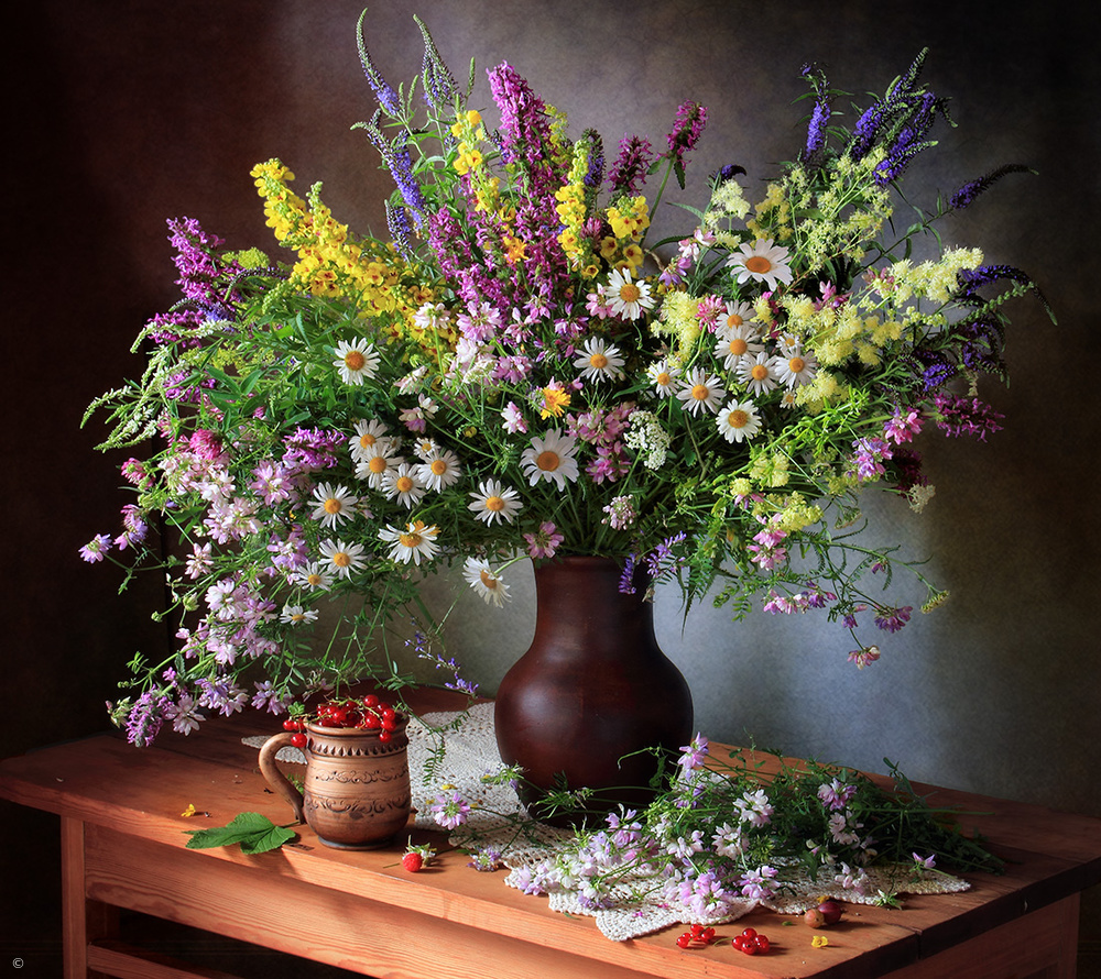 Fotokonst Still life with wildflowers and berries