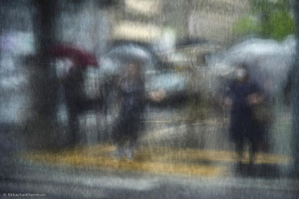Fotokonst Rainy day in the city