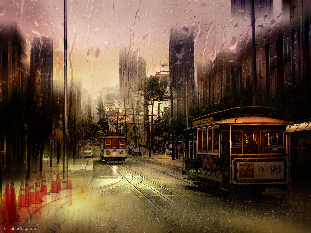 Fotokonst Rainy day in San Francisco
