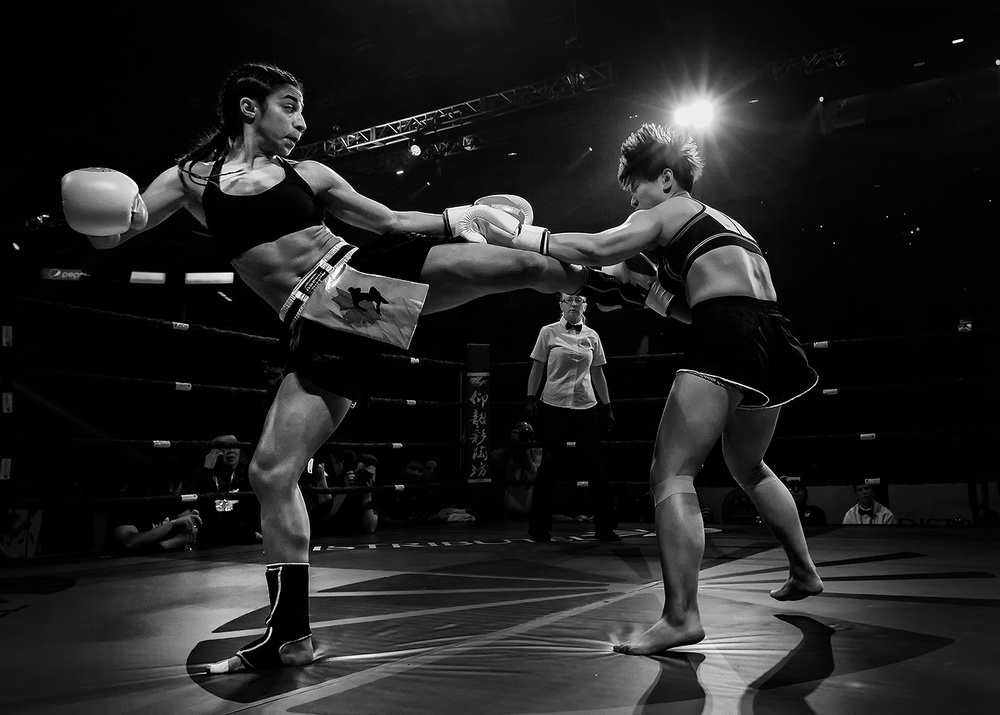 Fotokonst Kickboxing fighting