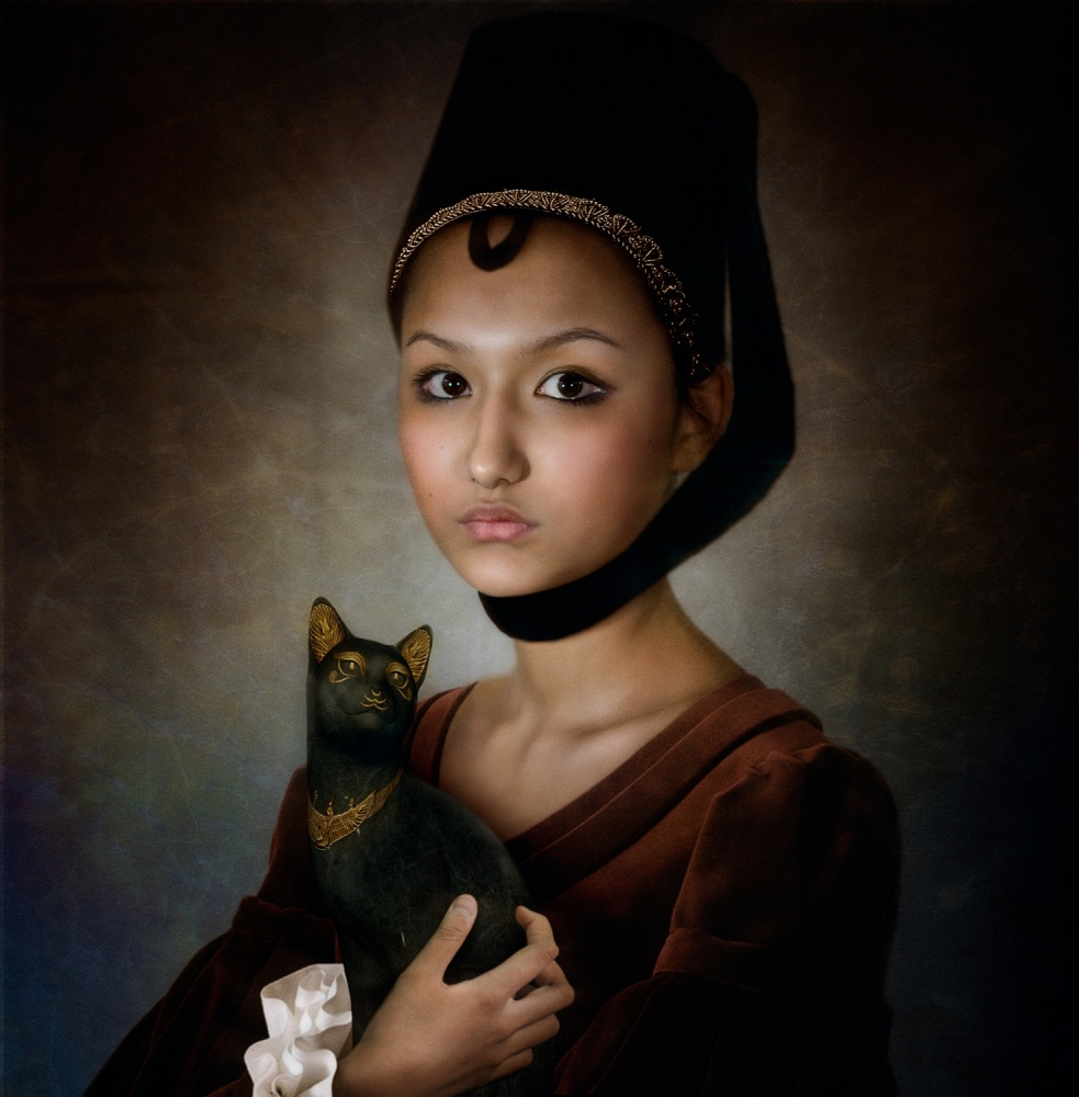 Fotokonst Portrait of a girl with black cat