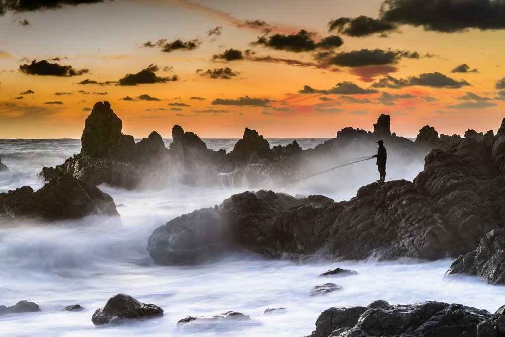 Fotokonst The Sunset Fisherman