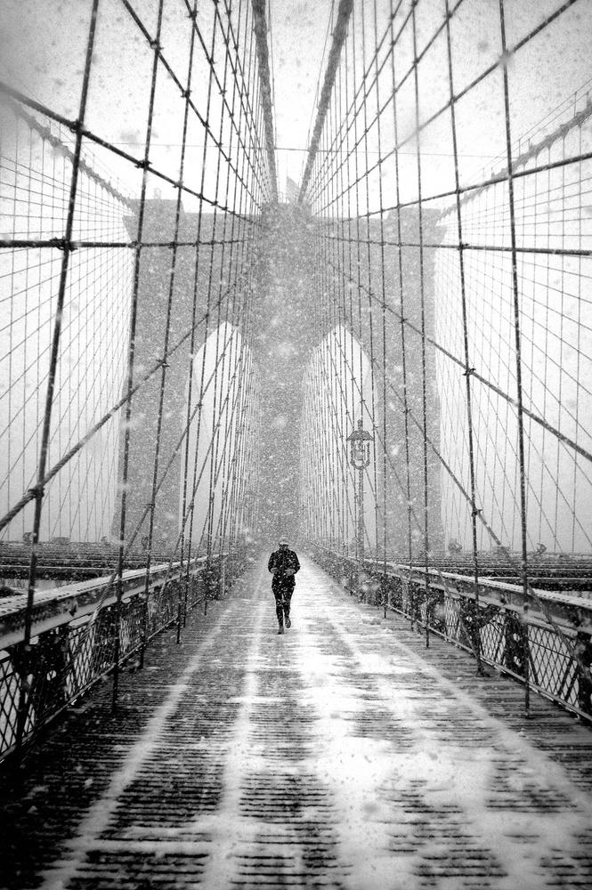 New York Walker In Blizzard - Brooklyn Bridge